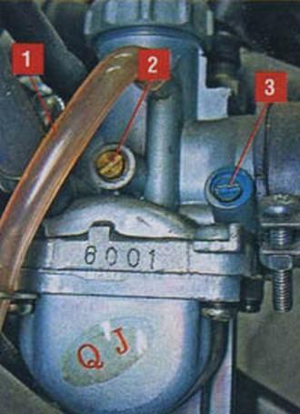 1 - вентиляционная трубка; 2 - винт регулировки оборотов холостого хода ; 3 - винт регулировки состава бензовоздушной смеси.