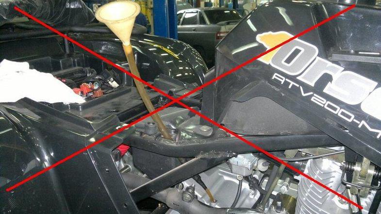Приспособление для замены трансмиссионного масла на квадроцикле 2